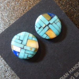 画像1: サントドミンゴ Joe&Angile・Reano モザイクインレイ サークル型スタッズピアス