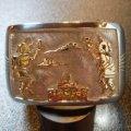 ホピ Philbert・Poseyesva オーバレイ シルバー&14Kゴールド カチーナダンサーetc バングル約16〜17cm用