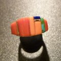 ホピ Sonwai Swell Inlay 18Kt Coral&Lapis… Ring16