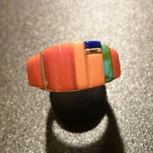 画像1: ホピ Sonwai Swell Inlay 18Kt Coral&Lapis… Ring16