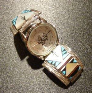 画像1: ナバホ Tevesa・Jenio インレイ 以可学模様 ウォッチブレスLサイズ