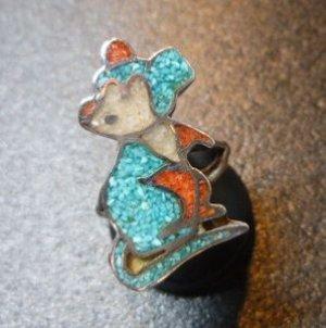 画像1: ズニorナバホ Usedポーン インレイ ミッキーマウス? リング8号