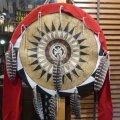 部族作者不明 プレーンインディアン ウォーボンネットデザイン シールド壁掛けインテリア