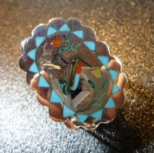 画像1: ズニ S&E・Guardian インレイ ハミングバードetc リング14・5号