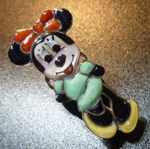 画像1: ズニ Don・Dewa インレイ 全身ミニーマウス リング10号