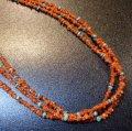 サントドミンゴ コーラル&ブルーターコイズ&etc 3連ネックレス約58cm