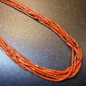 画像1: サントドミンゴ? 1970年オールド レッドコーラルetc 6連ネックレス約75cm