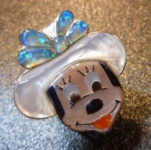 画像1: ズニ Don・Dewa インレイ フェイス カウガールミニーマウス リング16・5号