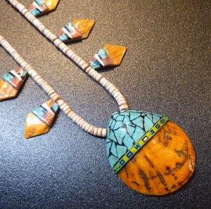 画像1: サントドミンゴ インレイ ターコイズ&オイスターシェル シェル型TOP&ネックレス