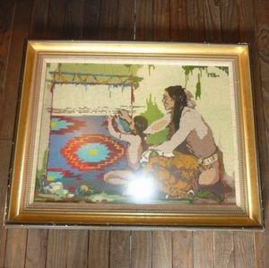 画像1: ヴィンテージ雑貨 1976年 インディアンラグ織風景 木製壁掛け