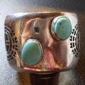 ホピ Jason・Takala 1970Sオールド オーバレイ サンフェイスetc ターコイズ付 バングル約17〜18・5cm用