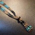 サントドミンゴ ジェット&マルチカラーストーン ヒシ6連ジャックラ付ネックレス約78cm