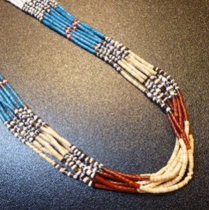 画像1: サントドミンゴ シェル&ターコイズ ヒシ7連ネックレス約75cm