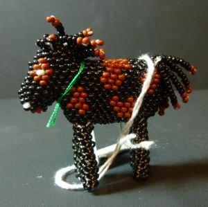 画像1: ズニ ビーズワーク 馬モチーフ 置物